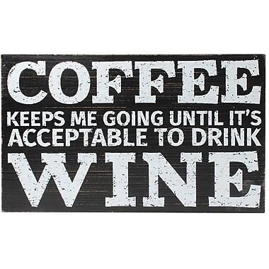 6x10 Black Wood Box Sign - Coffee and Wine