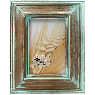 4x6 Weathered Wood With Verdigris Wash Picture Frame