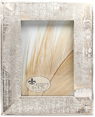 5x7 Distressed Gray Wood With White Wash Picture Frame