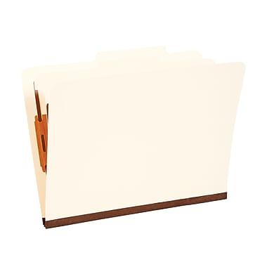 Staples® Manila Classification Folders, Letter, 2/5-Cut Top Tabs, 1 Partition, 10/Box (98601S)