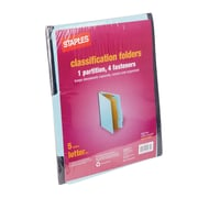 Staples® Colored Pressboard Classification Folders, Letter, Light Blue, 2/5 Cut Top Tab, 1 Partition, 5/Pack (PU541LBLS)