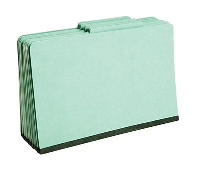 Staples® Colored Pressboard Classification Folders, 2/5 Cut Top Tab, 1 Partition, 20/Box (PU44GRESB)