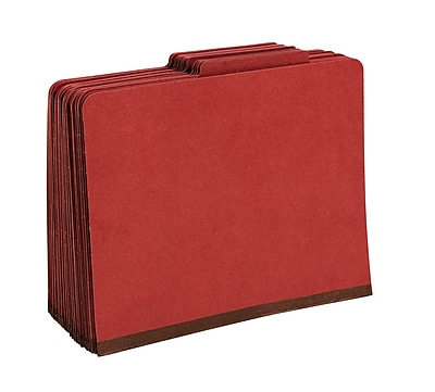 Staples Pressboard Classification Folders, 2/5-Cut Top Tab, Letter Size, 1 Divider, Brick Red, 20/Box (614421/PU41REDS)