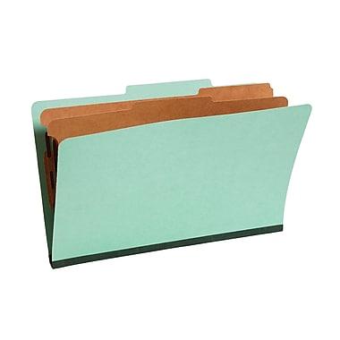Staples® Colored Pressboard Classification Folders, 2/5 Cut Top Tab, 2 Partitions, 20/Box (PU64GRESB)