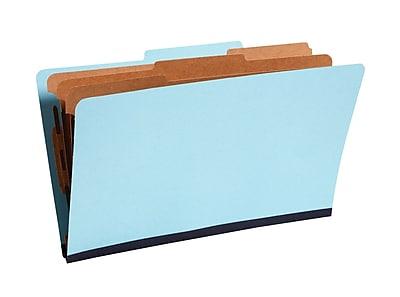 Staples® Colored Pressboard Classification Folders, 2/5 Cut Top Tab, 3 Partitions, 20/Box (98857SB)