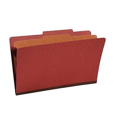Staples® Colored Pressboard Classification Folders, 2/5 Cut Top Tab, 1 Partition, 20/Box (PU44REDSB)