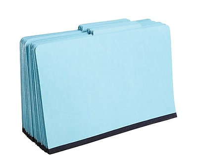 Staples® Colored Pressboard Classification Folders, 2/5 Cut Top Tab, 2 Partitions, 20/Box (PU64LBLSB)