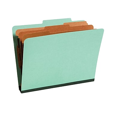 Staples® Colored Pressboard Classification Folders, 2/5 Cut Top Tab, 3 Partitions, 20/Box (98755SB)