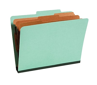 Staples® Colored Pressboard Classification Folders, 2/5 Cut Top Tab, 3 Partitions, 20/Box (98755SB)