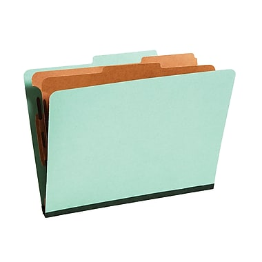 Staples® Colored Pressboard Classification Folders, 2/5 Cut Top Tab, 2 Partitions, 20/Box (PU61GRESB)