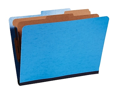 Staples® Moisture-Resistant Classification Folders, 2/5 Cut Top Tab, 2 Partitions, 10/Box (PU61MLBLSB)
