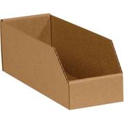 """4 (L) x 18 (W) x 4.5 (H)"""" Open Top Bin Boxes, 32 ECT, Brown, 50/Bundle (BINBWZ418K)"""