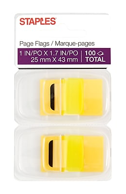 Staples Stickies® Flags with Pop-Up Dispenser, Blank, Yellow, 1