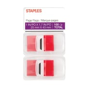 "Staples Stickies™ 1"" Red Flags with Pop-Up Dispenser, 2/Pack (14110)"