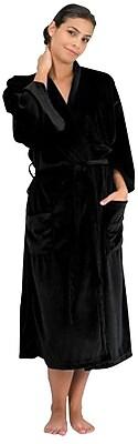 Canyon Rose Microplush Spa Robe, Black, XL