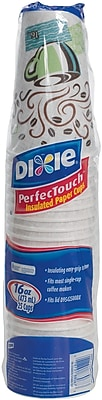 GP PRO Dixie® PerfecTouch® 16 Oz. Insulated Paper Hot Cup, Fits Large Lids, Coffee Haze, 500/CT