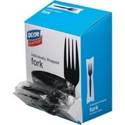 GP PRO Dixie® Wrapped Polystyrene Medium Weight Forks, Black, 90/PK