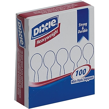 GP PRO Dixie® Polystyrene Heavy Weight Soup Spoons, White, 100/Box