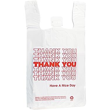 T-Shirt Thank You Bag, 12 x 7 x 13, 14 Microns, White, 500/Carton