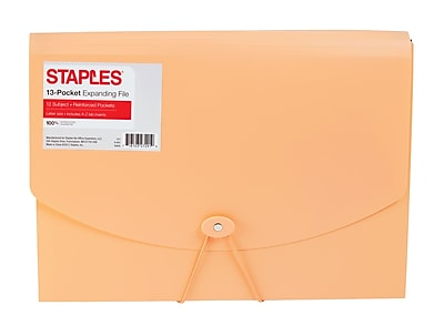 Staples® Plastic Expandable Reinforced 13 Pocket File, Letter Size, Coral