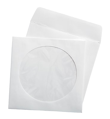 Staples CD/DVD Envelopes, White, 50/Pack (12257)