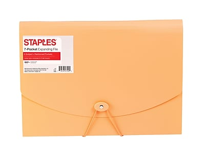 Staples® Plastic Expandable Reinforced 7 Pocket File, Letter Size, Coral