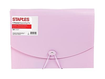 Staples® Plastic Expandable Reinforced 7 Pocket File, Letter Size, Purple