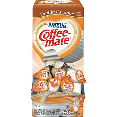 Nestlé® Coffee-mate® Coffee Creamer, Vanilla Caramel, .375oz liquid creamer singles, 50 count