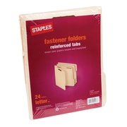 Staples® Manila Fastener Folder, Reinforced, Letter, 3 Tab, Manila, 24/PK (419275GW)