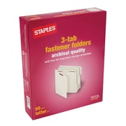 Staples® Top Tab Archival Quality Fastener Folders, 50/BX (578662)