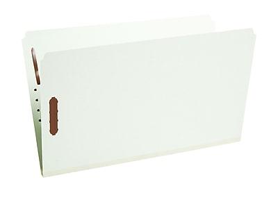 Staples® Gray/Green Pressboard Fastener Folders, Legal, Single Tab, 2