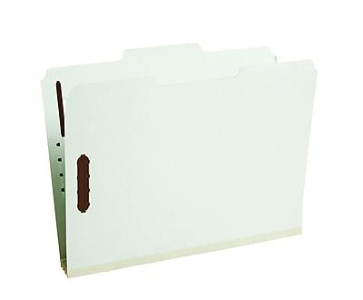 Staples® Gray/Green Pressboard Fastener Folders, Letter, 3 Tab, 3