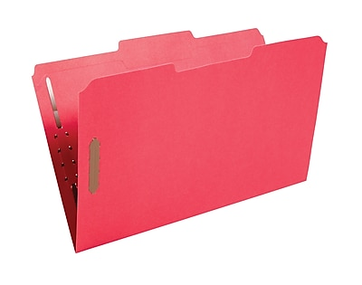 Staples Colored Reinforced Tab Fastener Folders, Legal, Red, 50/Box