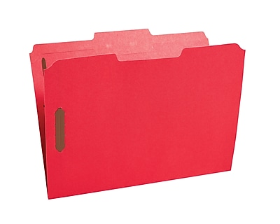 Staples Colored Reinforced Tab Fastener Folders, Letter, Red, 50/Box