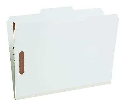Staples® Gray/Green Pressboard Fastener Folders, Letter, 3 Tab, 1