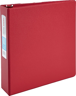 Staples® Standard Binder with D-Rings, Red or Burgundy, 500 Sheet Capacity, 2