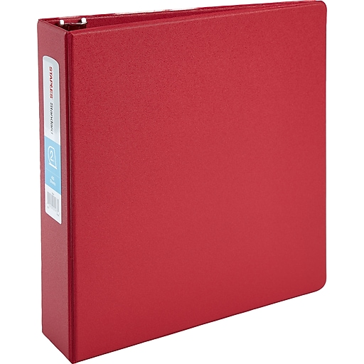 2 staples standard binder with d rings red staples