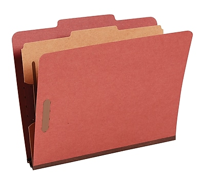 Staples® Top Tab Pressboard Classification Folders, Letter, Red, 2/5 Cut Tab, 1 Partition, 10/Box (18333)