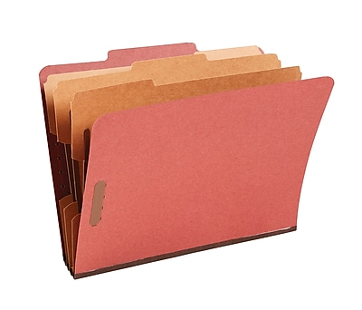 Staples Pressboard Classification Folders, 2/5-Cut Top Tab, Letter Size, 3 Dividers, Red, 10/Box (18336)