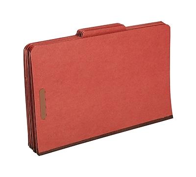 Staples® Top Tab Pressboard Classification Folders, Legal, Red, 2/5 Cut Tab, 1 Partition, 10/Box (18337)