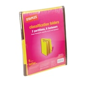 Staples® Brightly Colored Classification Folders, 2/5-Cut Tabs, Letter Size, 2 Partitions, 5/Pack (98717S)