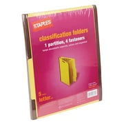 Staples® Brightly Colored Classification Folders, Letter, Yellow, 2/5-Cut Tabs, 1 Partition, 5/Pack (98517S)