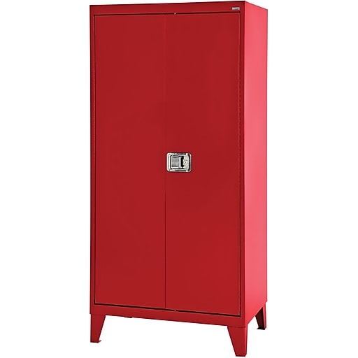Sandusky 79 H Extra Heavy Duty Steel Storage Cabinet With 4 Shelves Red Xa4d362472 01l