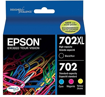 Epson 702 DURABrite Ultra Ink Cartridge, High Yield Black and Standard Yield Colors, Multipack CMYK (T702XL-BCS)