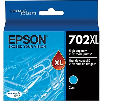 Epson 702 DURABrite Ultra Ink Cartridge, High Yield, Cyan Ink Cartridge (T702XL220)