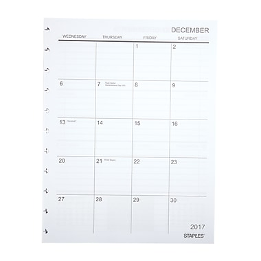 Staples® Arc System 2017-2018 Academic Year Weekly Planner Refill Paper, 8-1/2