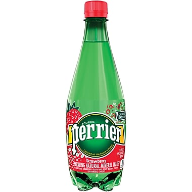 PERRIER Sparkling Natural Mineral Water, Strawberry 16.9 Oz. Plastic Bottles, 24/Pack