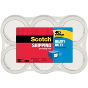 "Scotch® Heavy-Duty Shipping Packing Tape, Clear, 1.88"" x 54.6 Yds., 6 Rolls/Pack"