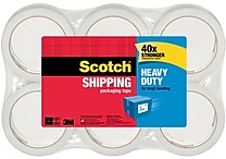 Scotch Heavy Duty Shipping Packing Tape, 1.88' x 54.6 yds, Clear, 6/Pack