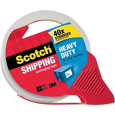 Scotch® Heavy Duty Shipping Tape with Dispensers 3850-RD, Clear, 1.88